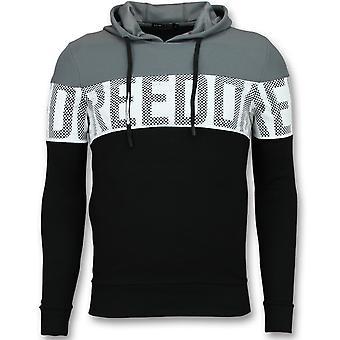 Striped Hooded Sweatshirt-Hoodies Mens Black-Grey