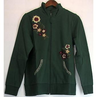 Sport Savvy Stretch French Terry Embroidered Jacket Dark Green A92595