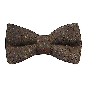 Heritage Check Earth Brown Bow Tie, Tweed