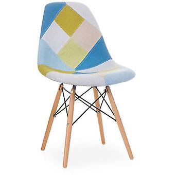 Tavi Krzesło WOODEN PATCHWORK Tapicerowane Blue & Green Pastel