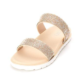 Xoxo Womens x0183511 Leather Open Toe Casual Slide Sandals