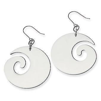 Stainless Steel Polished Shepherd hook Swirl Dangle Earrings