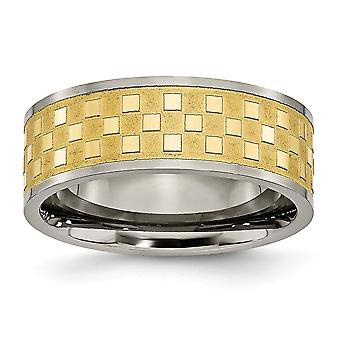 Titanium 8mm Gold-Flashed Engravable Yellow IP-plated Polished and satin Satin and Polished Checkered Band Ring - Ring S