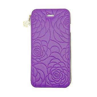 iPhone 6/6s - 4.7 Inch Nappa Embossed Camellia Folio Hard Shell Purple