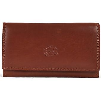 Ladies Soft Real Nappa Leather Long Flap-over Purse (Mid Brown)