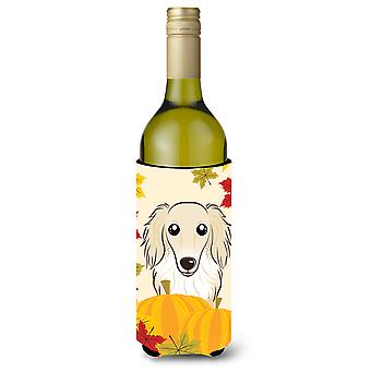 Longhair Creme Dachshund Thanksgiving Wine Bottle Koozie Hugger BB2018LITERK