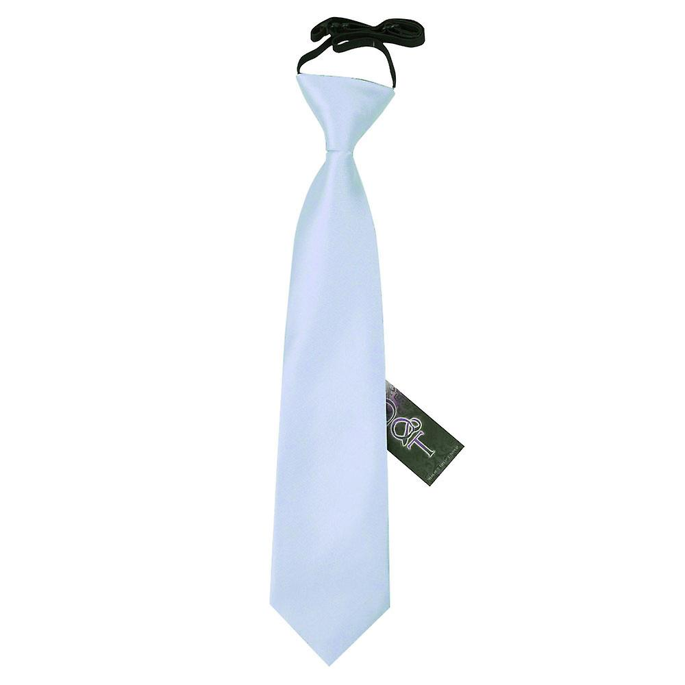 Boy's Plain Baby Blue Satin Pre-Tied Tie (2-7 years)