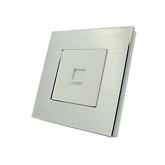 I LumoS Luxury Silver Brushed Aluminium BT RJ11 Telephone Wall Single Socket