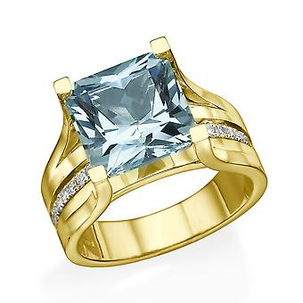 14K Yellow Gold 2.20 ctw Blue Topaz Ring with Diamonds Bridge Channel set Princess