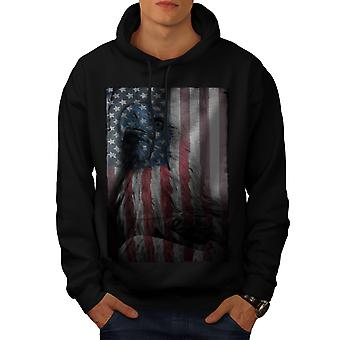 American Eagle Glory Men Black Hoodie | Wellcoda