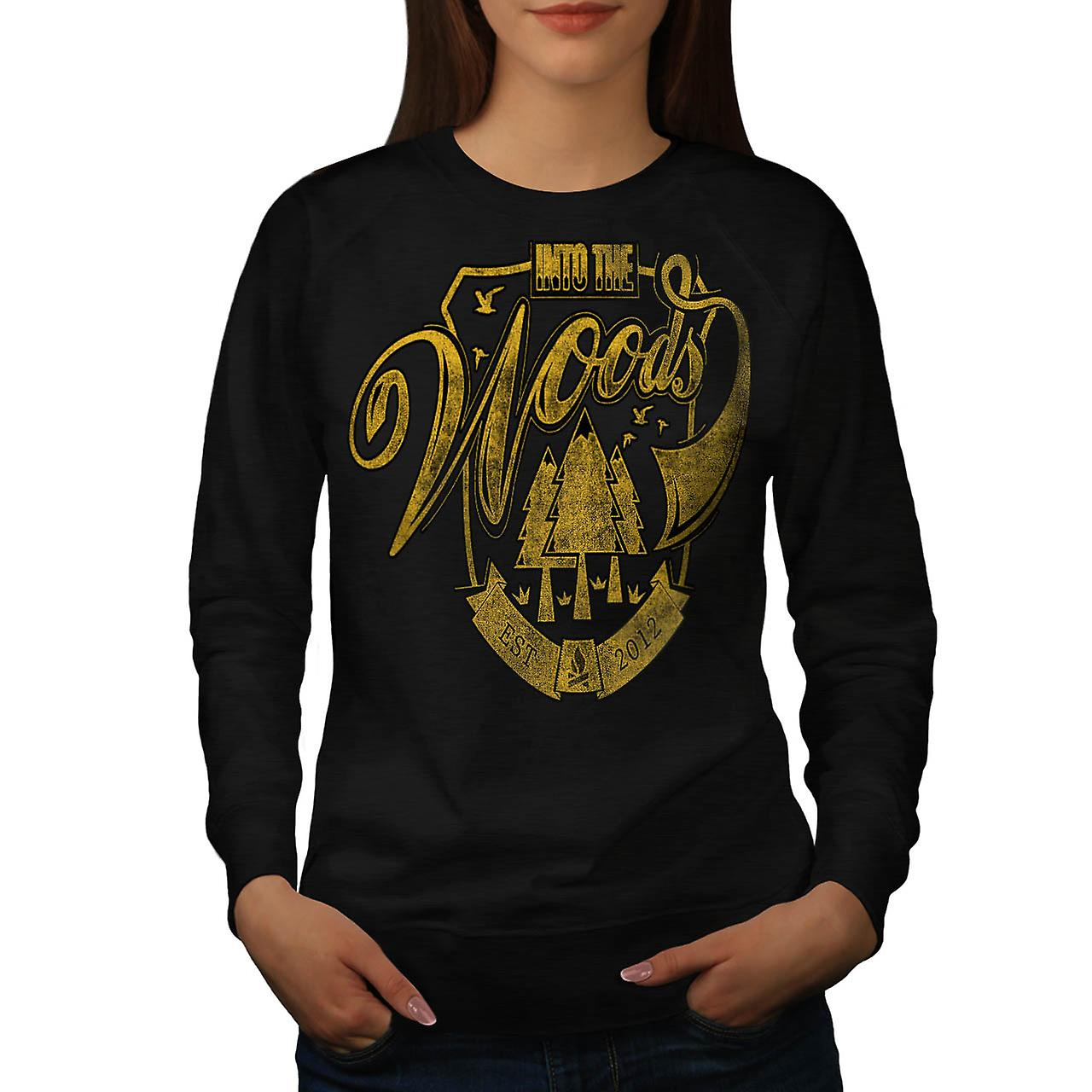 Into The Woods Vintage Women Black Sweatshirt | Wellcoda