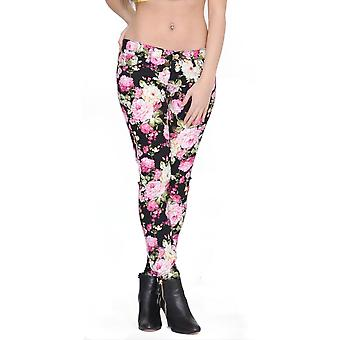 Flower floral print skinny stretch jeans - black and pink
