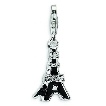 Sterling Silver 3-D Black Enameled CZ Eiffel Tower With Lobster Clasp Charm - Measures 30x11mm
