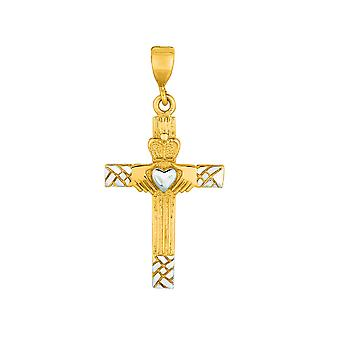 14k gelb Weißgold glänzend Sparkle-Cut Claddagh Kreuz Anhänger - 1,4 Gramm