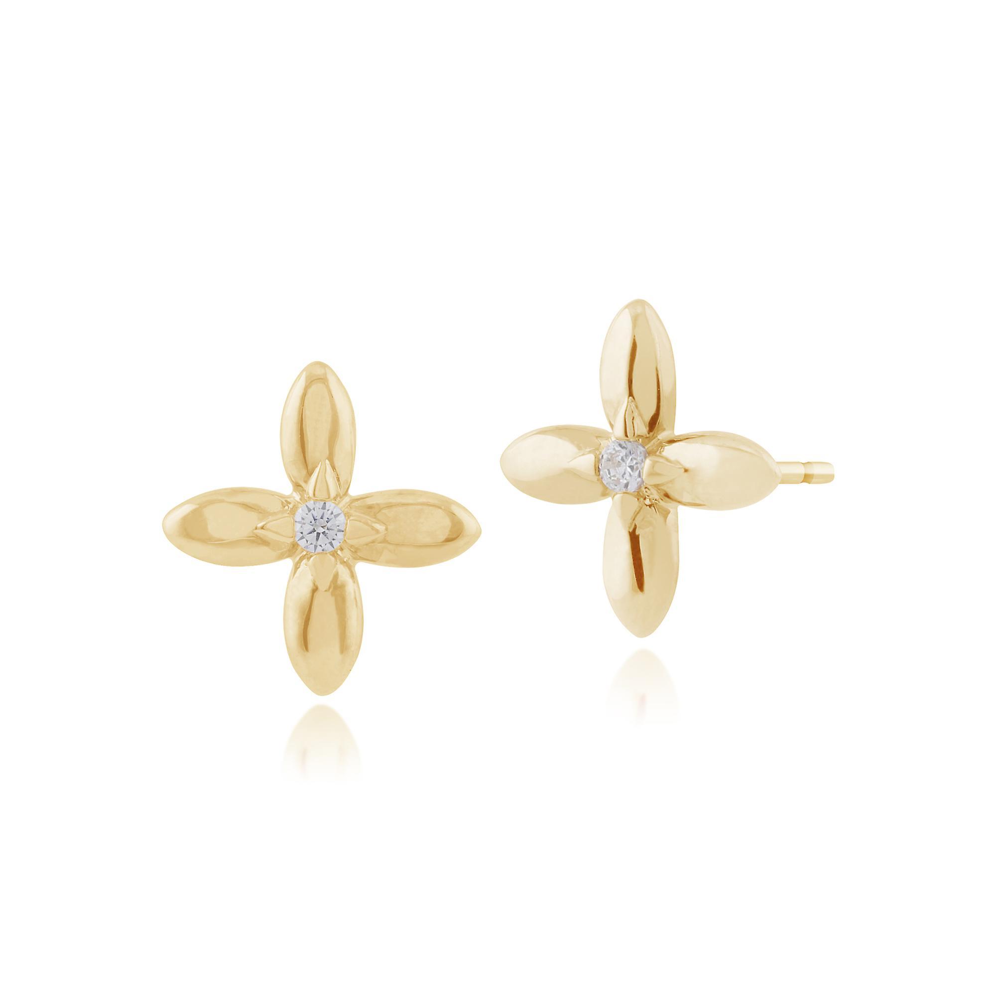 Gemondo 9ct Yellow Gold 0.03ct Diamond Ixora Flower Stud Earrings