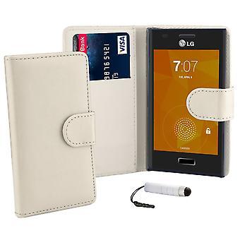 Buchcover Brieftasche Case für LG Optimus L5ii E460 + Stift - weiß