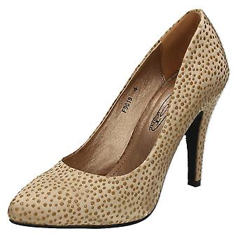 Ladies Spot On Satin Court Shoes F9619