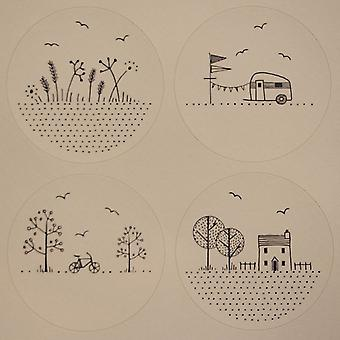 East Of India Happy Days Stickers Single Sheet of 24 - Craft Houses and Caravan