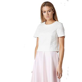Topshop White Jacquard Front Tee TP576-6
