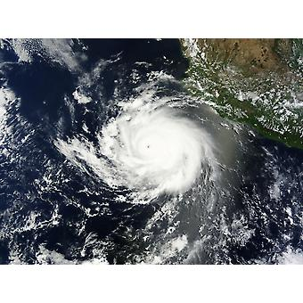 June 12 2014 - Satellite view of Tropical Cyclone Cristina churning over the eastern Pacific Ocean off the coast of Mexico Poster Print