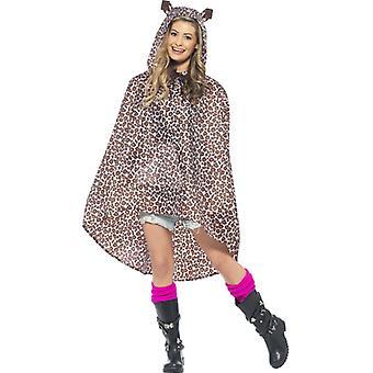 Leopardkostüm Partyponcho Leopard Leo Poncho Regenjacke Festival Kostüm