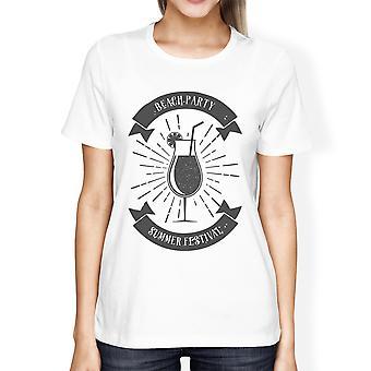 Beach Party zomer Festival Womens witte katoenen Crewneck T-shirt