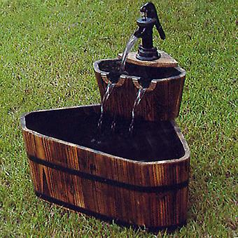 Barrel - Solid Wood Garden 2 Tier Fountain - Burntwood