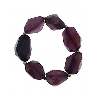 W.A.T Purple Stone And Gold Bead Stretchy Bracelet