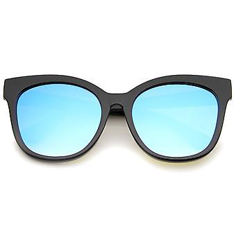 Róg kobiet oprawie kolor lustro płaskie soczewki Oversize Cat okulary przeciwsłoneczne 57mm