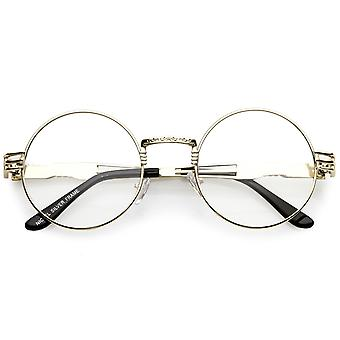 Classic Engraved Metal Round Eyeglasses With Arm Cutout Clear Flat Lens 53mm