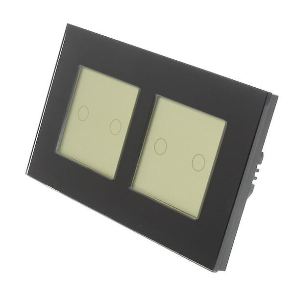I LumoS noir Glass Double Frame 4 Gang 1 Way Touch LED Light Switch or Insert