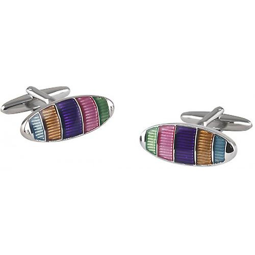 David Van Hagen Oval Striped Cufflinks - Silver/Multi-colour