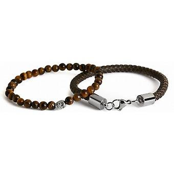 Simon Carter Leather and Skull Bead Bracelet Set - Brown