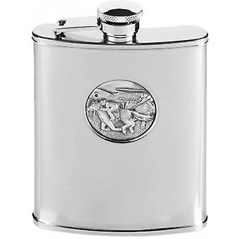 Orton West 6oz Stainless Steel Horse Racing Hip Flask - Silver