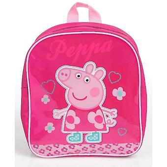 Escola mini mochila Peppa Pig flores e corações