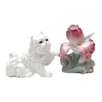 Bløde hvide perser med skæggede Iris blomst Salt og peber Shaker sæt