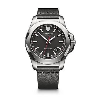Victorinox Swiss Army 241737 I.n.o.x. Silver & Black Leather Watch