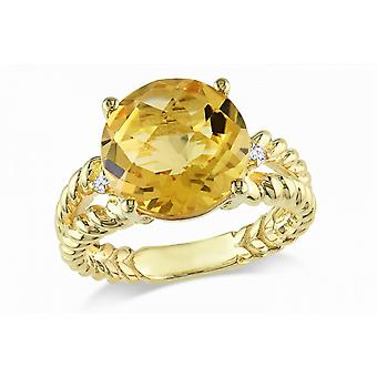 Affici Sterling sølv Cocktail Ring 18ct gul guld belagte ~ 3 karat citrin CZ perle