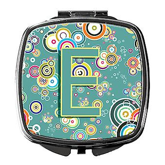 Letter E Circle Circle Teal Initial Alphabet Compact Mirror