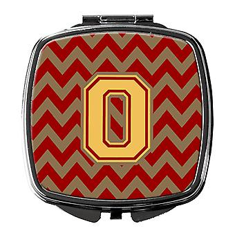 Letter O Chevron Garnet and Gold  Compact Mirror