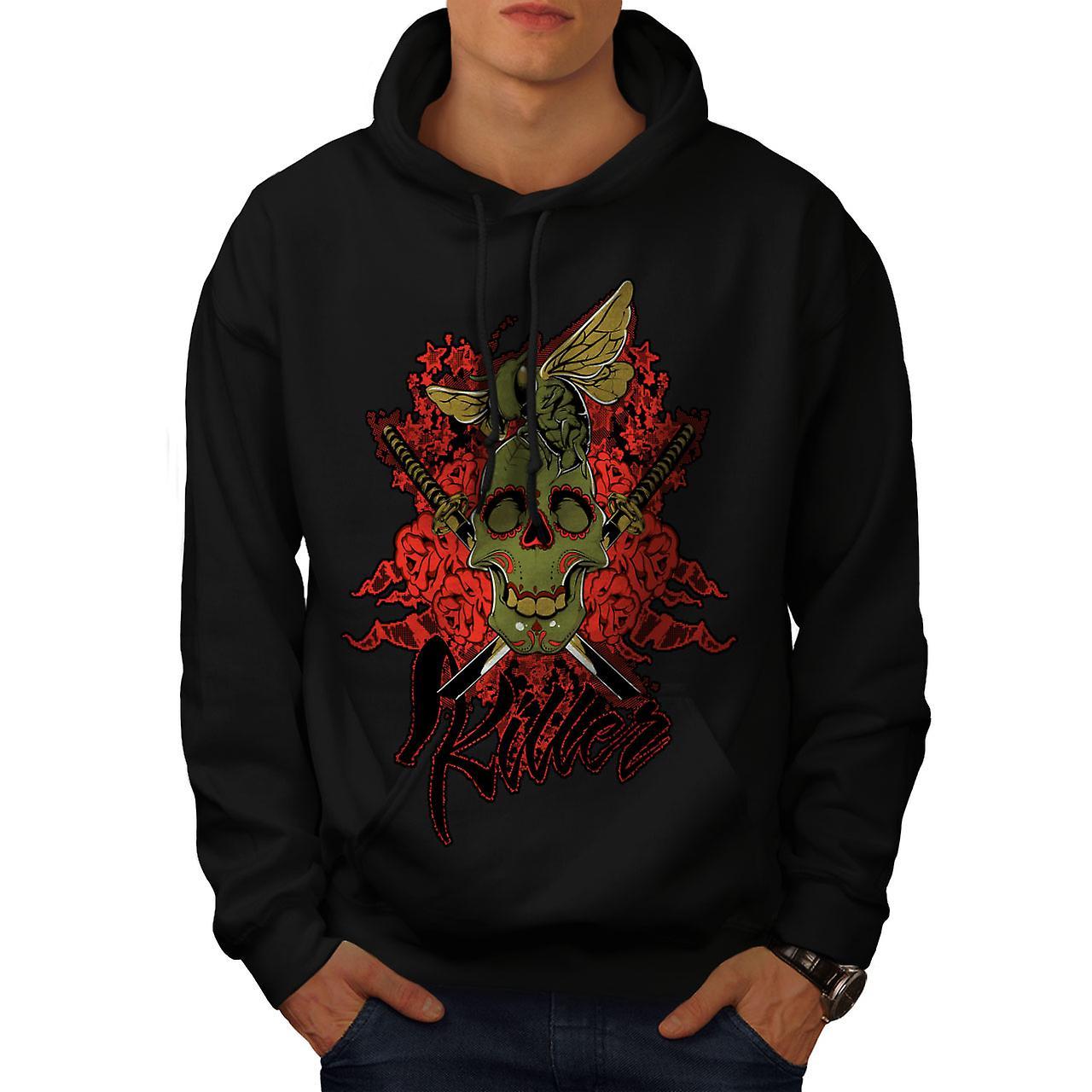 Killer Rose Bug Skull Men Black Hoodie | Wellcoda