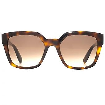 Alexander McQueen Edge Square Sunglasses In Havana Brown