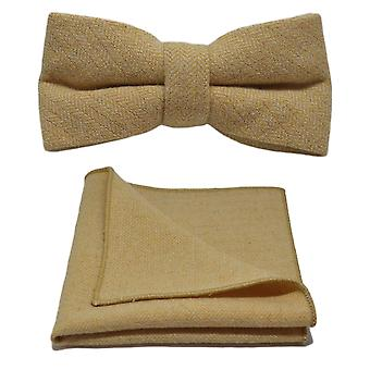 Golden Yellow Herringbone Bow Tie & Pocket Square Set