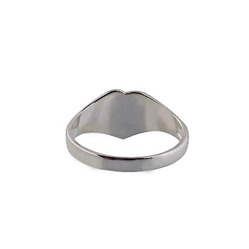 Silver 9x9mm ladies engraved heart shaped Signet ring