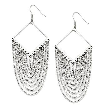 Stainless Steel Multi-Strand and Chain Dangle Earrings