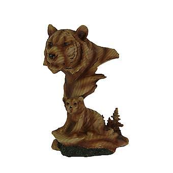 تبدو الرأس فو النمر المنحوتة والخشب شبل تمثال