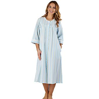 Slenderella HC1226 Women's Stripe Seersucker Blue Dressing Gown Loungewear Bath Robe 3/4 Length Sleeve Robe
