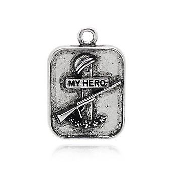 Packet 4 x Antique Silver Tibetan 21mm My Hero Charm/Pendant ZX05965