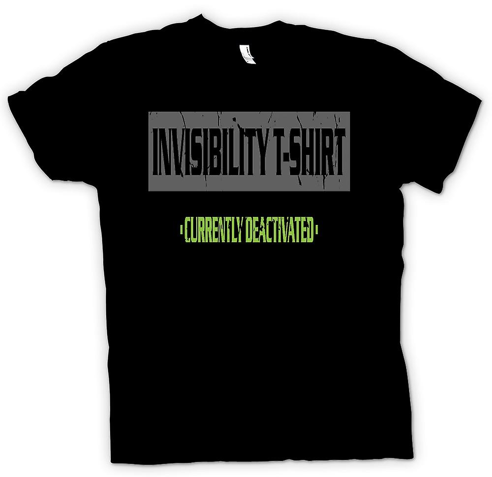 Mens T-shirt - Invisibility T Shirt - Currently Deactivated