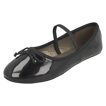 Girls Spot On Elastic Bar Ballerinas H2489 - Black Synthetic Patent - UK Size 1 - EU Size 33 - US Size 2